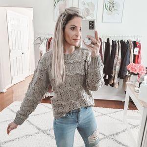 Tularosa taupe crew neck sweater